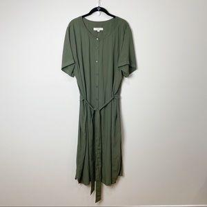 LOFT NWT Green Belted Button Up Shirt Dress